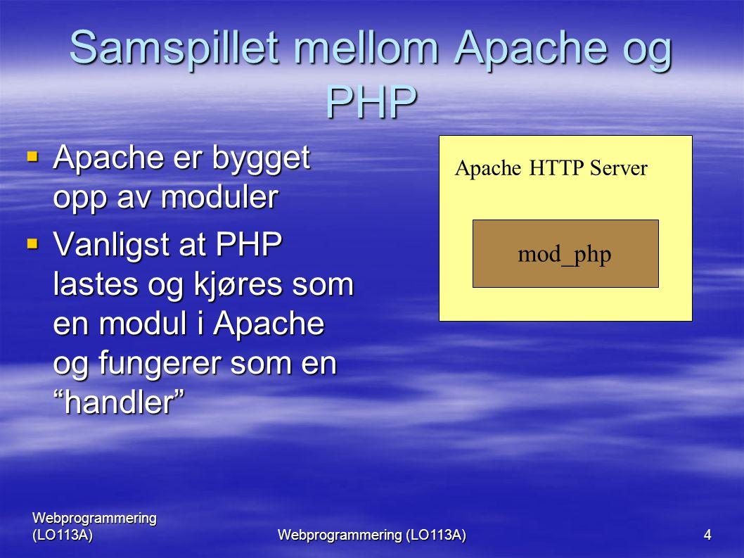 Webprogrammering (LO113A) 4 Samspillet mellom Apache og PHP  Apache er bygget opp av moduler  Vanligst at PHP lastes og kjøres som en modul i Apache og fungerer som en handler mod_php Apache HTTP Server
