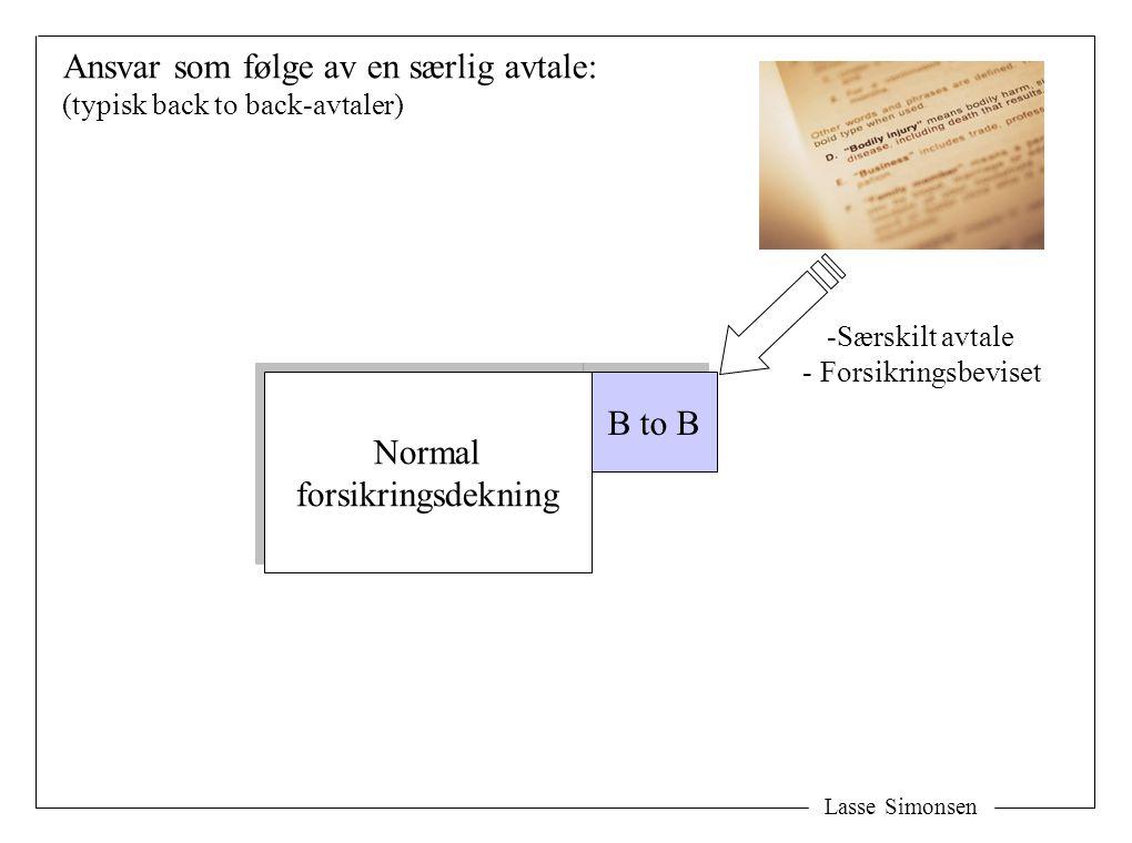 B to B Lasse Simonsen Ansvar som følge av en særlig avtale: (typisk back to back-avtaler) Normal forsikringsdekning Normal forsikringsdekning -Særskilt avtale - Forsikringsbeviset