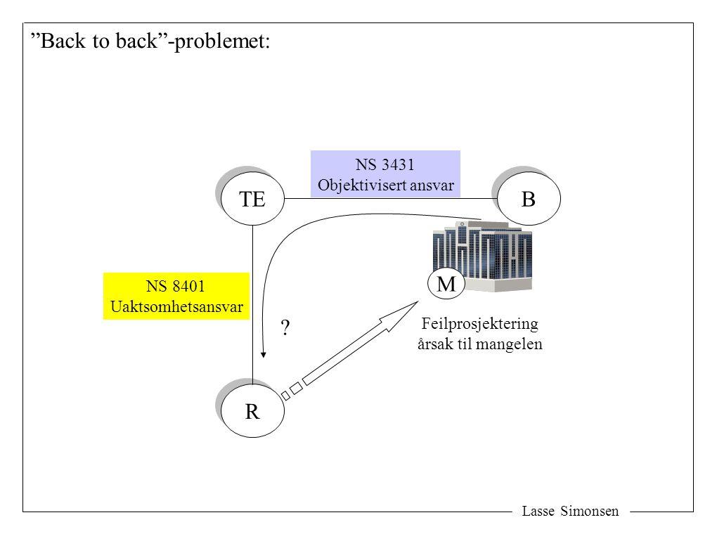 Lasse Simonsen Back to back -problemet: TE R R B B NS 3431 Objektivisert ansvar NS 8401 Uaktsomhetsansvar M Feilprosjektering årsak til mangelen ?
