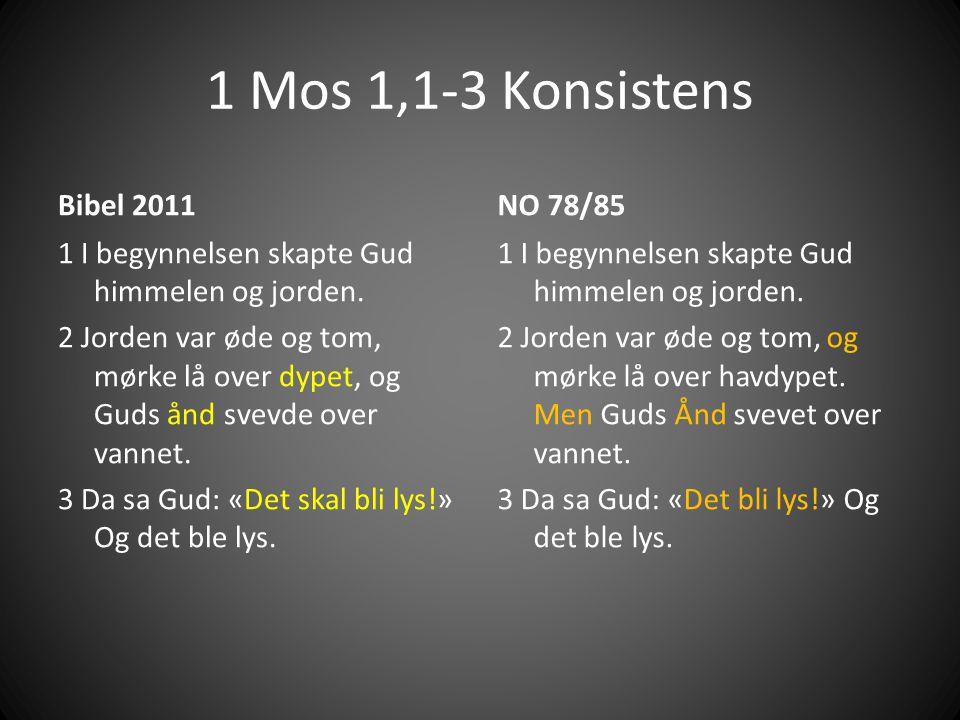 1 Mos 1,1-3 Konsistens Bibel 2011 1 I begynnelsen skapte Gud himmelen og jorden.