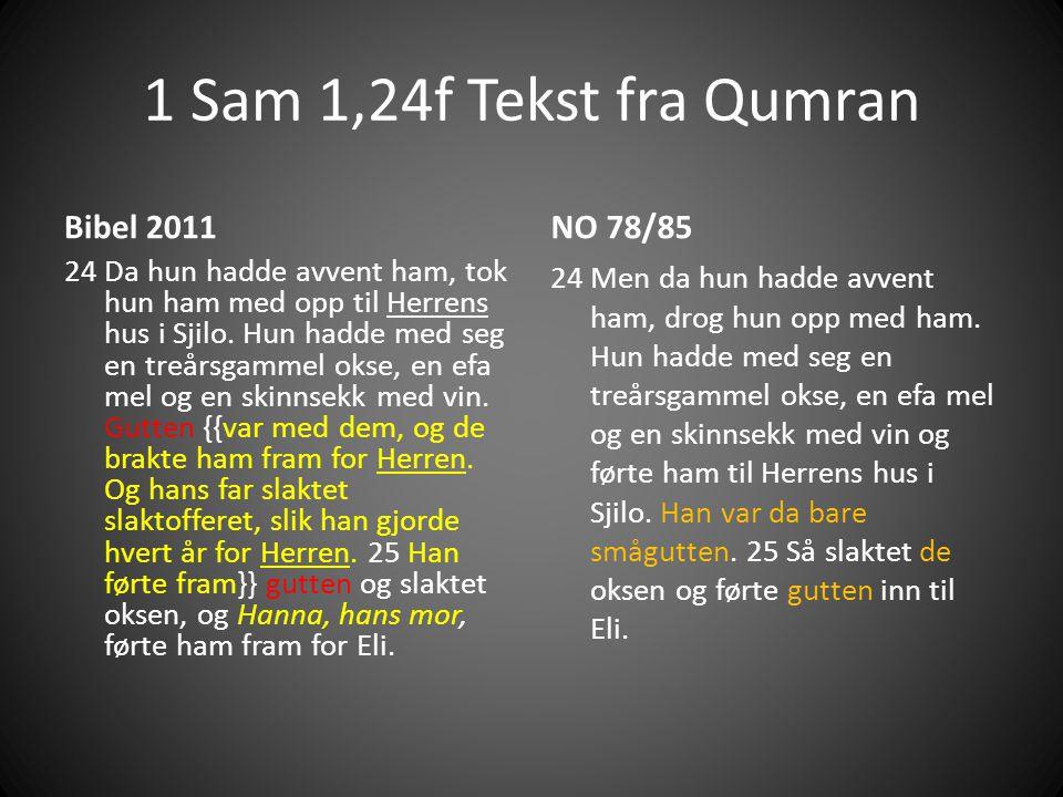 1 Sam 1,24f Tekst fra Qumran Bibel 2011 24 Da hun hadde avvent ham, tok hun ham med opp til Herrens hus i Sjilo.