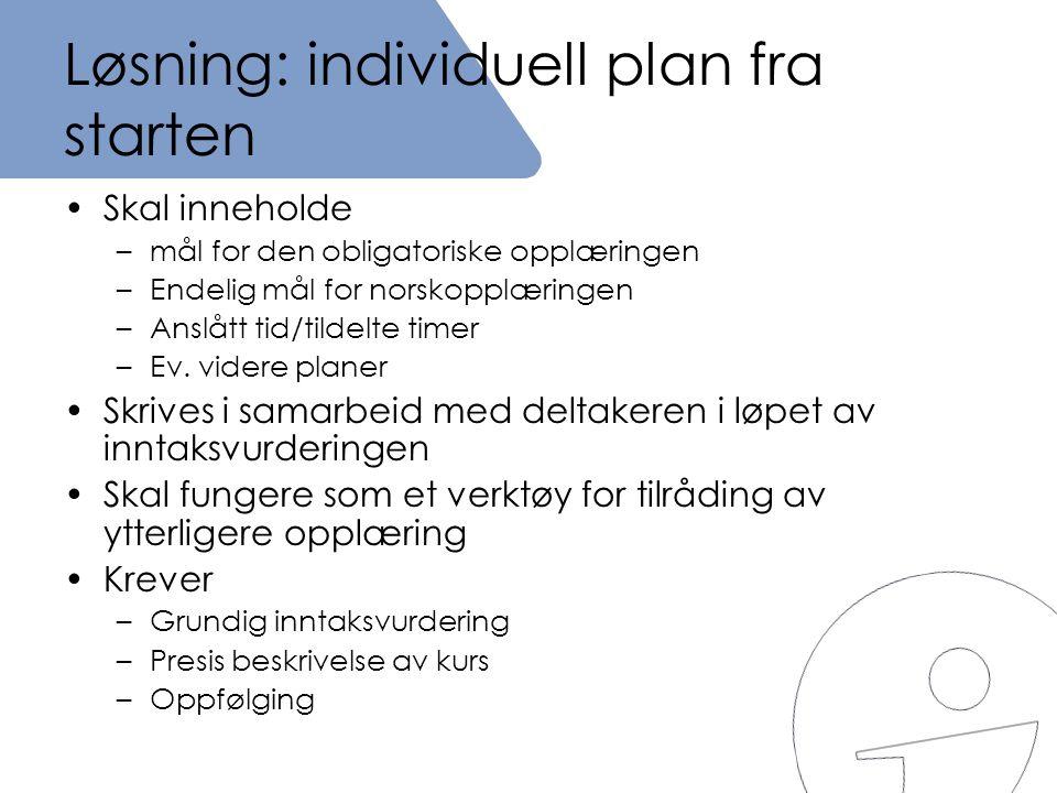Løsning: individuell plan fra starten •Skal inneholde –mål for den obligatoriske opplæringen –Endelig mål for norskopplæringen –Anslått tid/tildelte t