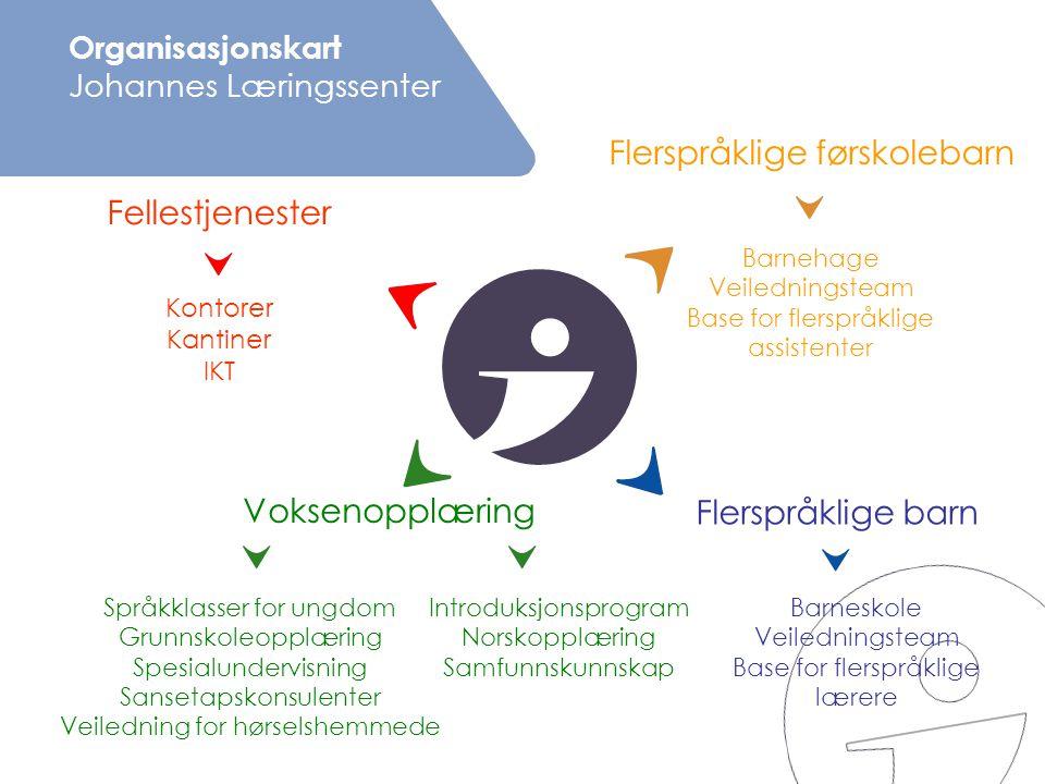 Organisasjonskart Johannes Læringssenter Fellestjenester Språkklasser for ungdom Grunnskoleopplæring Spesialundervisning Sansetapskonsulenter Veiledni