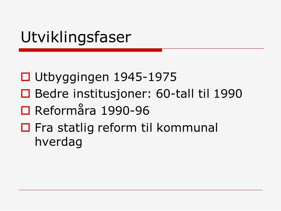 Utviklingsfaser  Utbyggingen 1945-1975  Bedre institusjoner: 60-tall til 1990  Reformåra 1990-96  Fra statlig reform til kommunal hverdag
