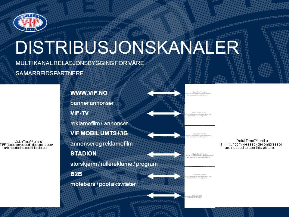 DISTRIBUSJONSKANALER WWW.VIF.NO banner annonser VIF-TV reklamefilm / annonser VIF MOBIL UMTS+3G annonser og reklamefilm STADION storskjerm / rullerekl