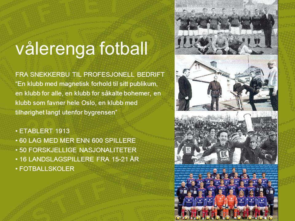 """vålerenga fotball FRA SNEKKERBU TIL PROFESJONELL BEDRIFT """"En klubb med magnetisk forhold til sitt publikum, en klubb for alle, en klubb for såkalte bo"""