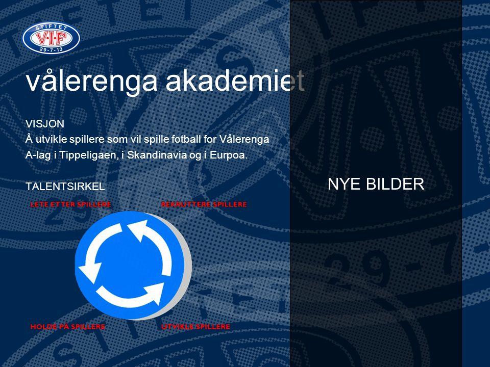 vålerenga akademiet VISJON Å utvikle spillere som vil spille fotball for Vålerenga A-lag i Tippeligaen, i Skandinavia og i Eurpoa. TALENTSIRKEL NYE BI