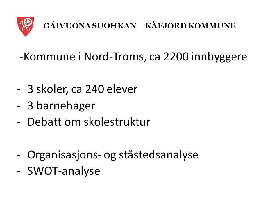 -Kommune i Nord-Troms, ca 2200 innbyggere -3 skoler, ca 240 elever -3 barnehager -Debatt om skolestruktur -Organisasjons- og ståstedsanalyse -SWOT-analyse