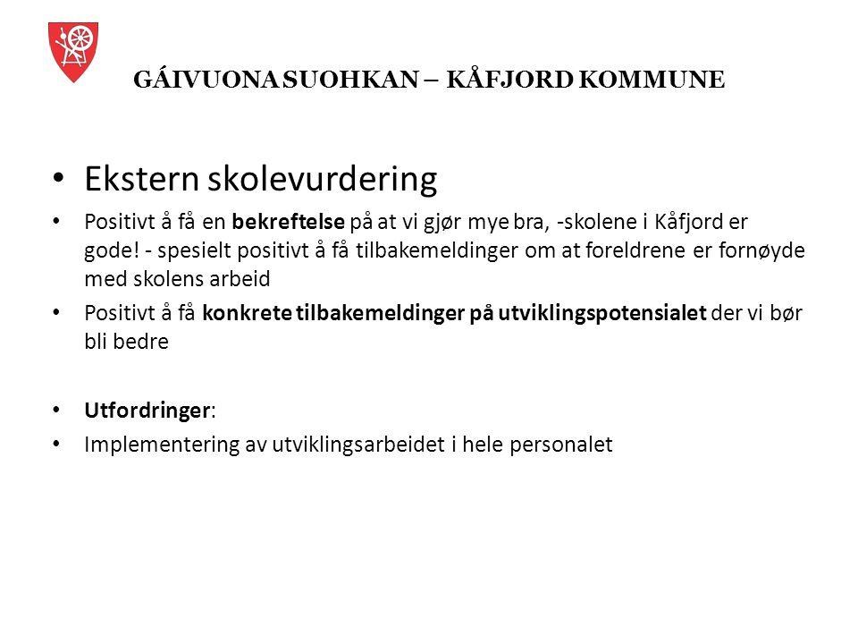 GÁIVUONA SUOHKAN – KÅFJORD KOMMUNE Veien videre 3-årsperspektiv ( ny skolestruktur vedtatt, bygging av felles ungdomsskole) Kvalitetsplan ( som signaliserer det vi vil med skolen) -Visjon for kåfjordsskolen- (fokus på faglig kvalitet og trivsel) -Kjennetegn på hva som er kåfjordsskolen Rolle- og forventningsavklaringer: skoleeier (politikere og adm nivå), rektorer, øvrige ansatte, foreldre, elever