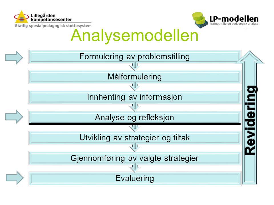 Analysemodellen Evaluering Gjennomføring av valgte strategier Utvikling av strategier og tiltak Analyse og refleksjon Innhenting av informasjon Målfor