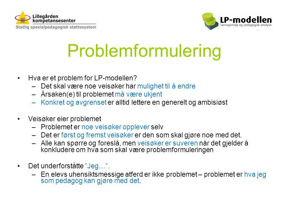 Problemformulering •Hva er et problem for LP-modellen? –Det skal være noe veisøker har mulighet til å endre –Årsaken(e) til problemet må være ukjent –