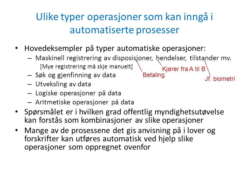 Ulike typer operasjoner som kan inngå i automatiserte prosesser • Hovedeksempler på typer automatiske operasjoner: – Maskinell registrering av disposisjoner, hendelser, tilstander mv.