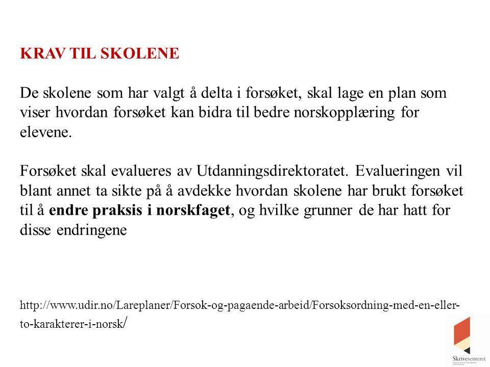 KRAV TIL SKOLENE De skolene som har valgt å delta i forsøket, skal lage en plan som viser hvordan forsøket kan bidra til bedre norskopplæring for elev