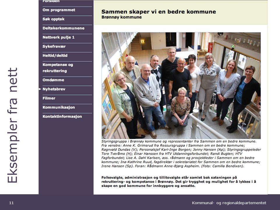 Kommunal- og regionaldepartementet Norsk mal: Tekst uten kulepunkter Eksempler fra nett 11