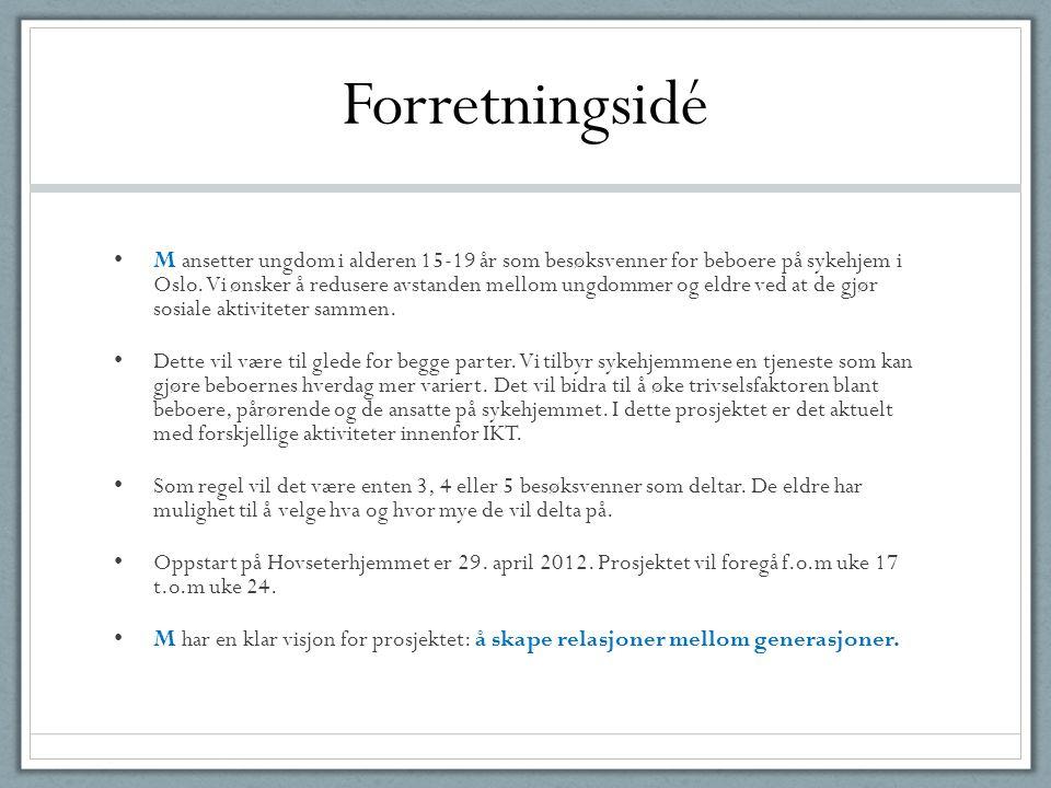Forretningsidé • M ansetter ungdom i alderen 15-19 år som besøksvenner for beboere på sykehjem i Oslo. Vi ønsker å redusere avstanden mellom ungdommer