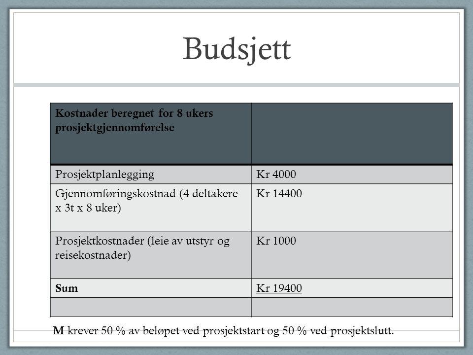 Budsjett Kostnader beregnet for 8 ukers prosjektgjennomførelse ProsjektplanleggingKr 4000 Gjennomføringskostnad (4 deltakere x 3t x 8 uker) Kr 14400 P