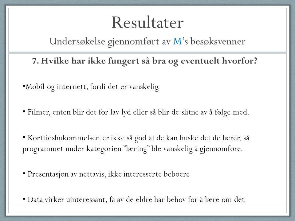 Resultater Undersøkelse gjennomført av M's besøksvenner 7. Hvilke har ikke fungert så bra og eventuelt hvorfor? • Mobil og internett, fordi det er van