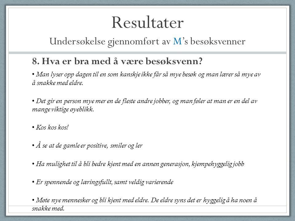 Resultater Undersøkelse gjennomført av M's besøksvenner 8. Hva er bra med å være besøksvenn? • Man lyser opp dagen til en som kanskje ikke får så mye