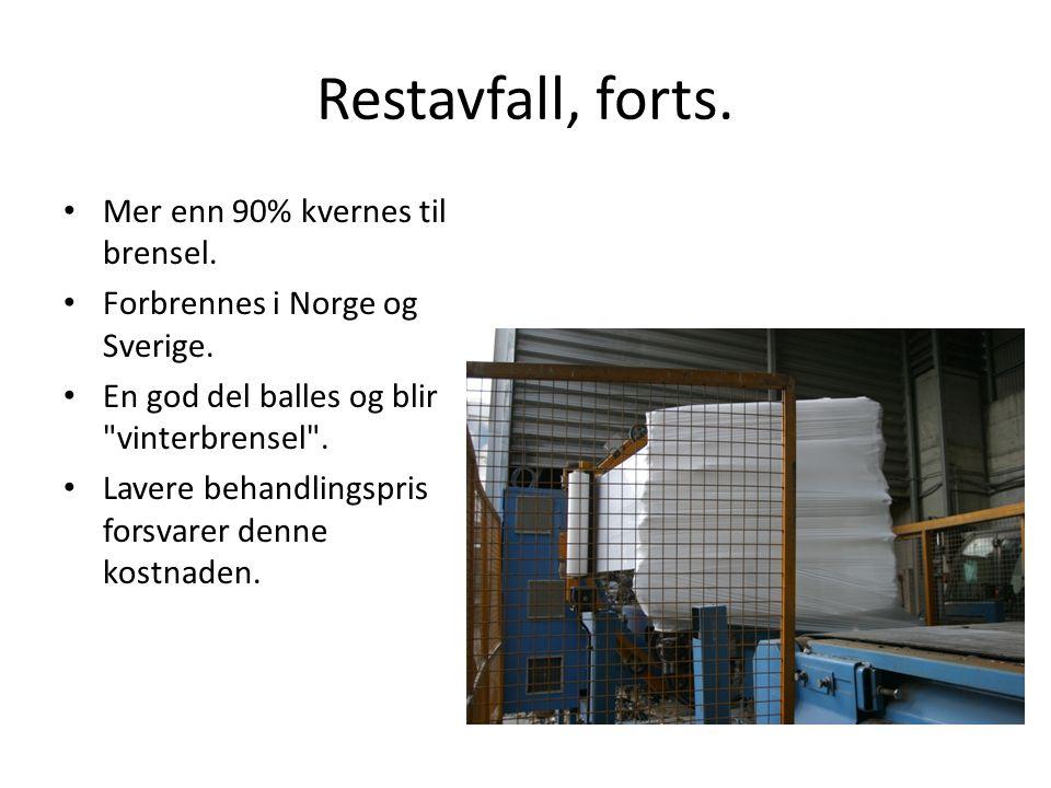 Restavfall, forts. • Mer enn 90% kvernes til brensel. • Forbrennes i Norge og Sverige. • En god del balles og blir