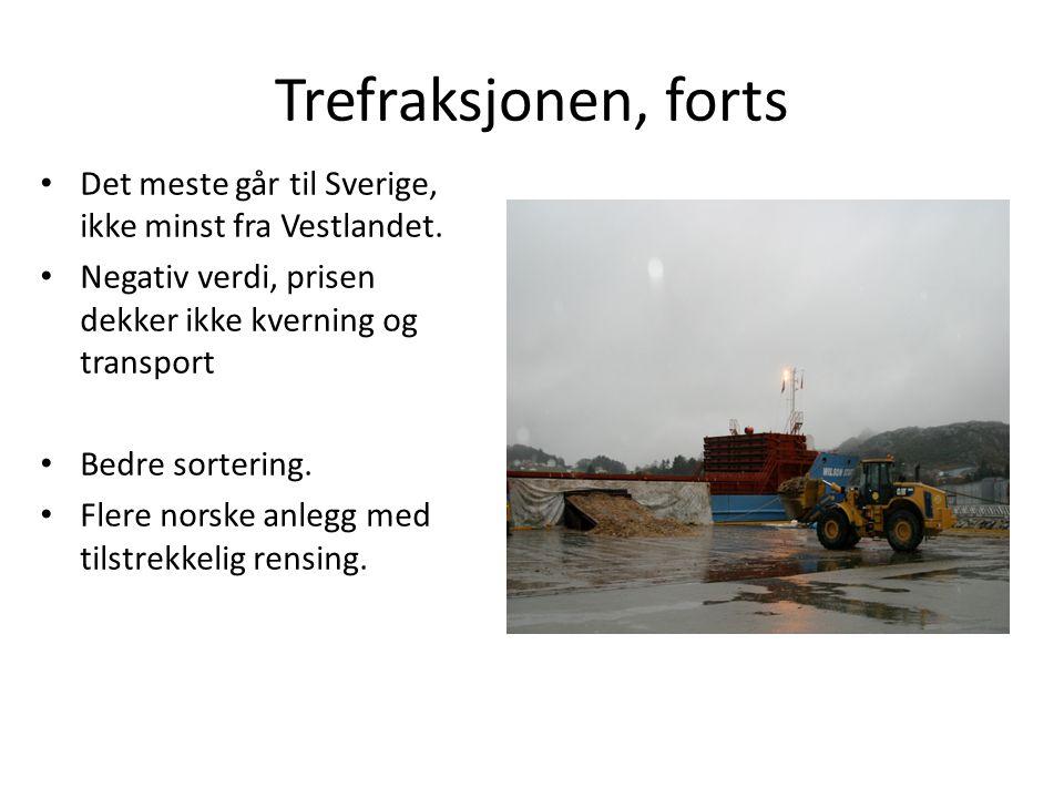 Trefraksjonen, forts • Det meste går til Sverige, ikke minst fra Vestlandet. • Negativ verdi, prisen dekker ikke kverning og transport • Bedre sorteri