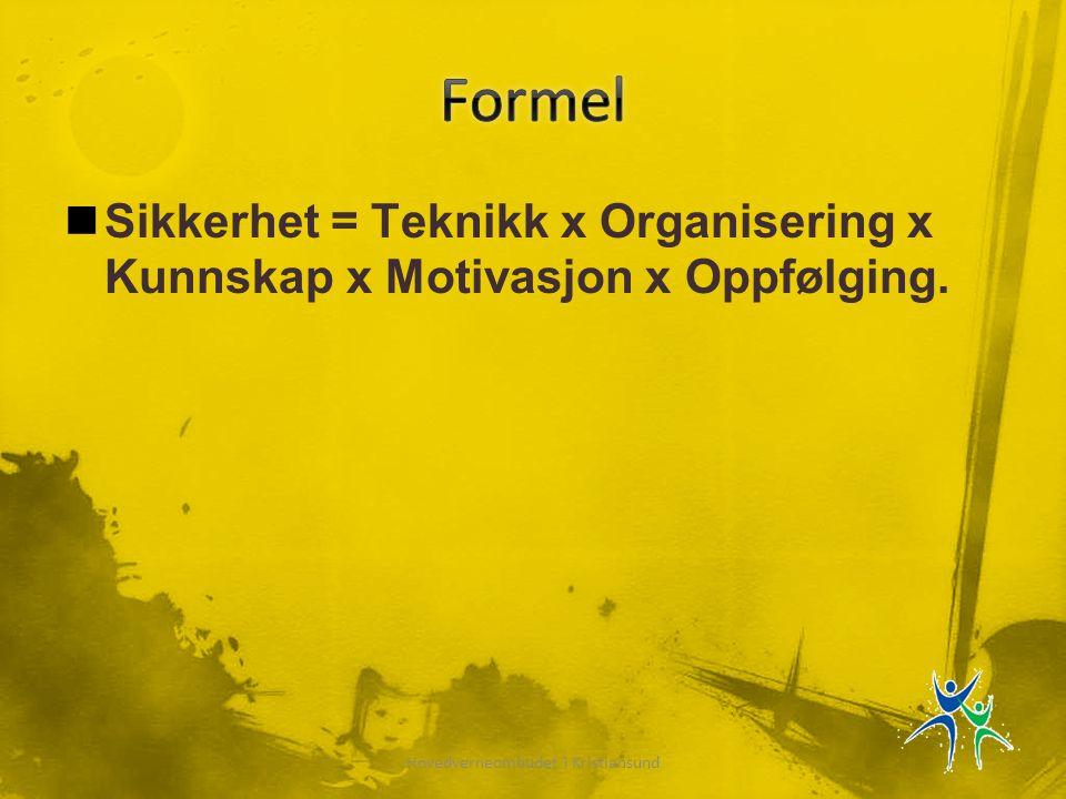  Sikkerhet = Teknikk x Organisering x Kunnskap x Motivasjon x Oppfølging.