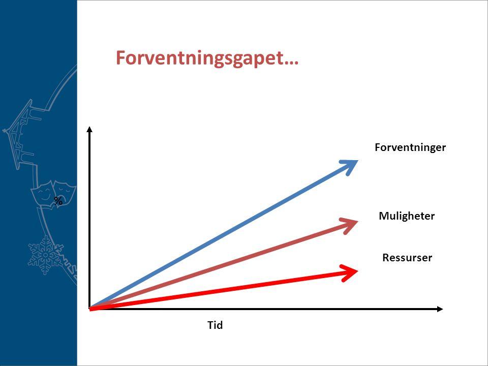 Forventningsgapet… Ressurser Muligheter Forventninger Tid %
