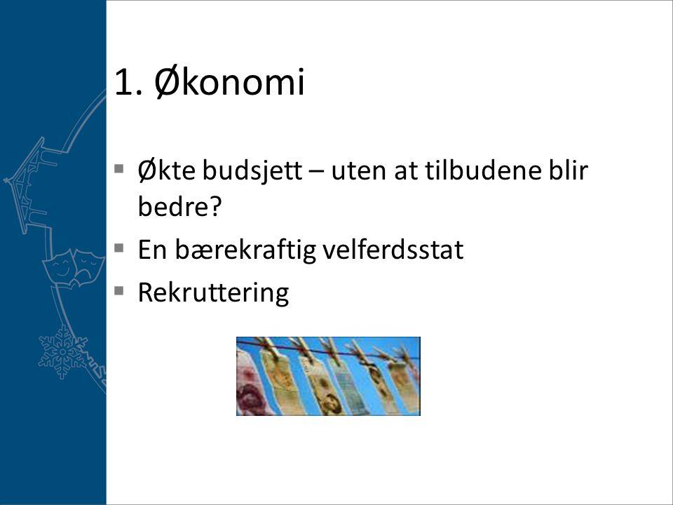 1.Økonomi  Økte budsjett – uten at tilbudene blir bedre.