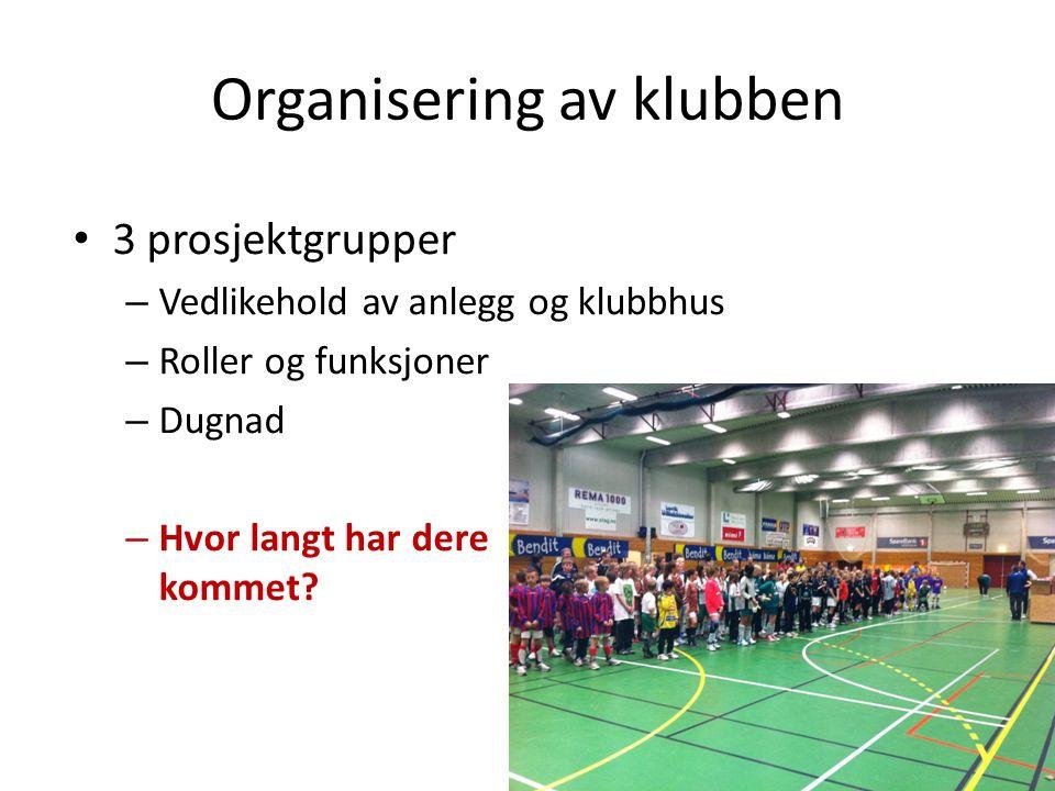Organisering av klubben • 3 prosjektgrupper – Vedlikehold av anlegg og klubbhus – Roller og funksjoner – Dugnad – Hvor langt har dere kommet?
