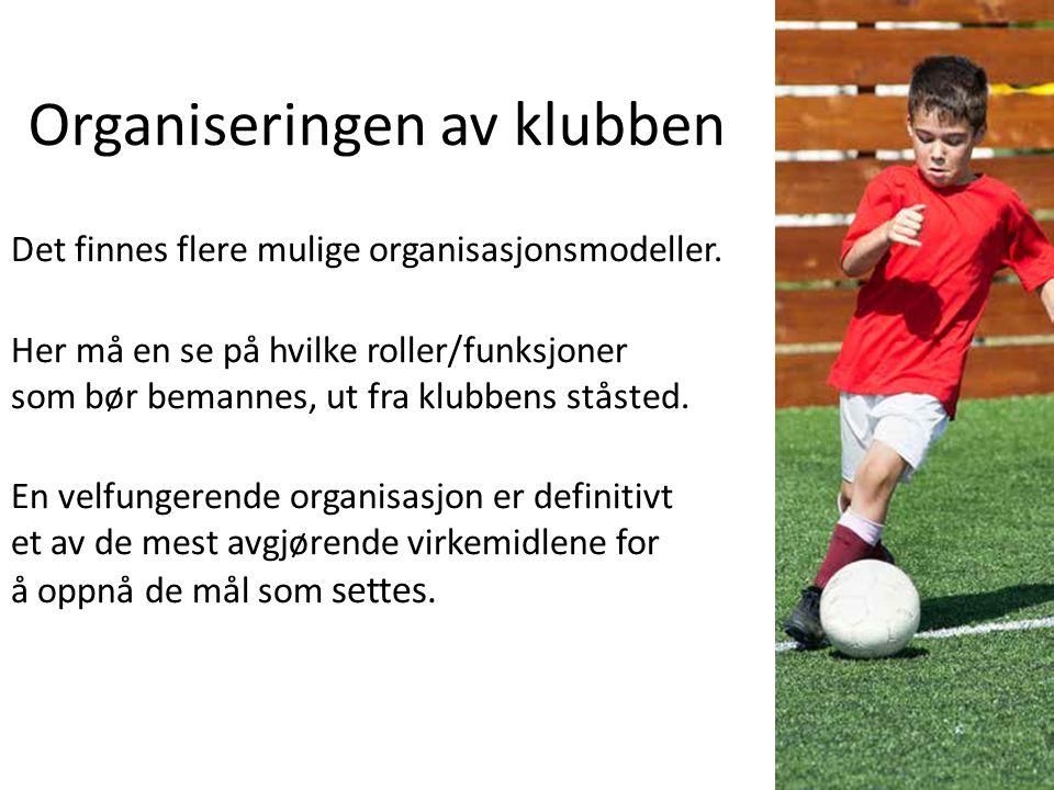 Organiseringen av klubben Det finnes flere mulige organisasjonsmodeller.