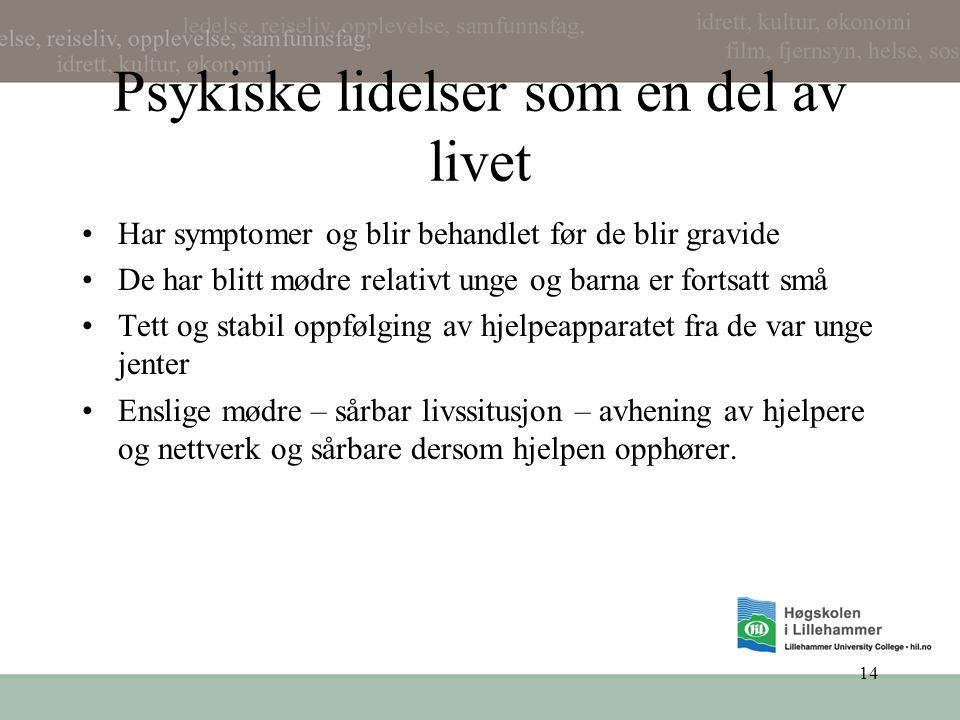 Psykiske lidelser som en del av livet •Har symptomer og blir behandlet før de blir gravide •De har blitt mødre relativt unge og barna er fortsatt små