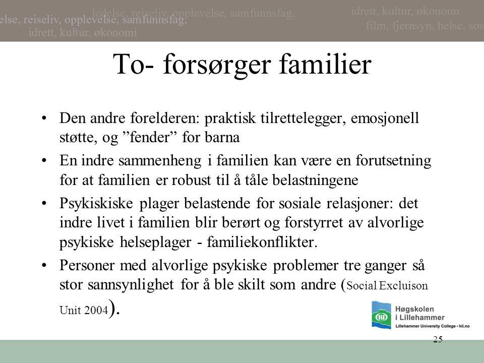 """25 To- forsørger familier •Den andre forelderen: praktisk tilrettelegger, emosjonell støtte, og """"fender"""" for barna •En indre sammenheng i familien kan"""