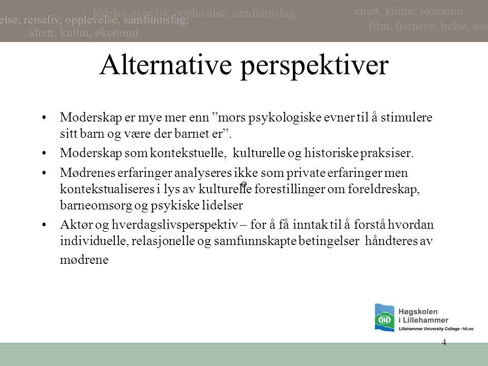 """4 Alternative perspektiver •Moderskap er mye mer enn """"mors psykologiske evner til å stimulere sitt barn og være der barnet er"""". •Moderskap som konteks"""