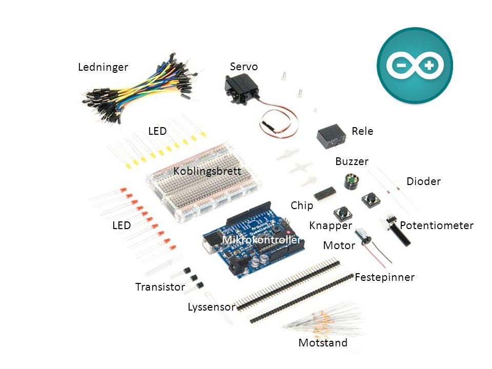 Ledninger Servo Rele Buzzer Chip Knapper Dioder Potentiometer Motor Festepinner Motstand Lyssensor Transistor LED Koblingsbrett Mikrokontroller