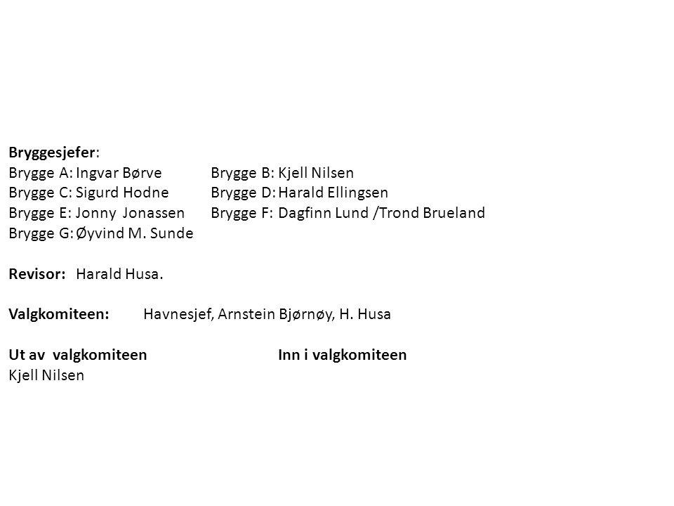 Bryggesjefer: Brygge A:Ingvar BørveBrygge B:Kjell Nilsen Brygge C:Sigurd Hodne Brygge D:Harald Ellingsen Brygge E:Jonny Jonassen Brygge F:Dagfinn Lund /Trond Brueland Brygge G:Øyvind M.