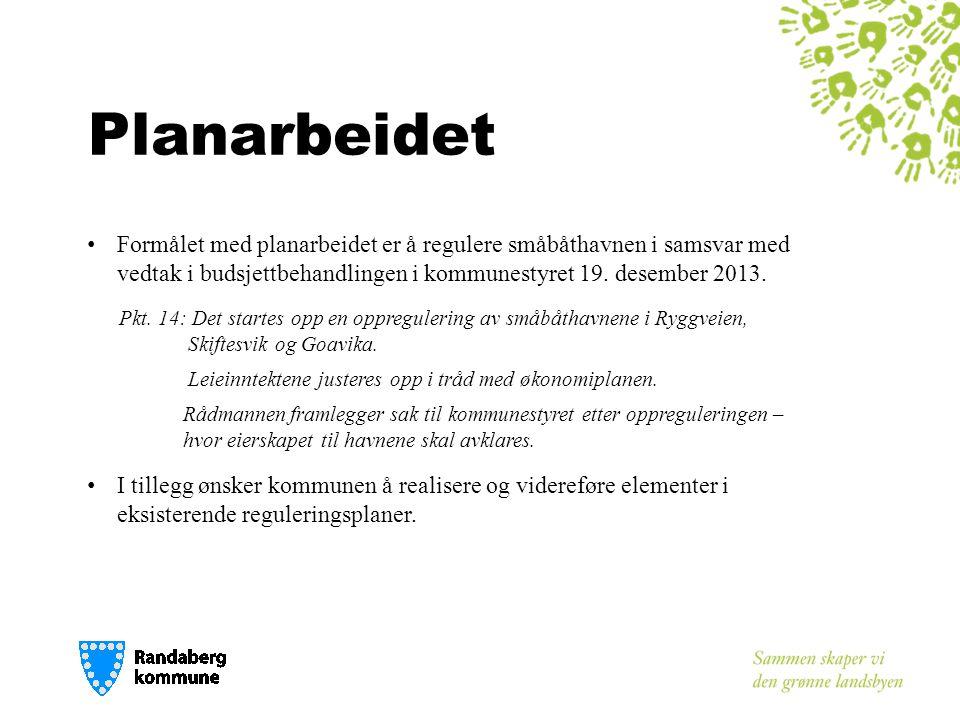 Planarbeidet • Formålet med planarbeidet er å regulere småbåthavnen i samsvar med vedtak i budsjettbehandlingen i kommunestyret 19.