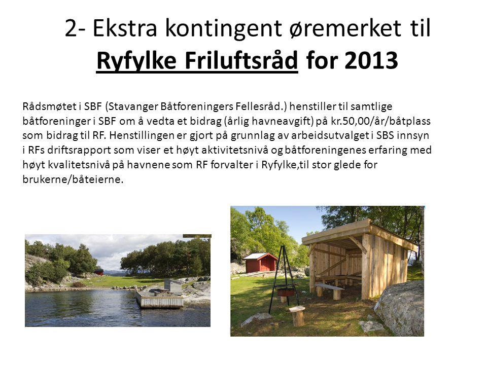 2- Ekstra kontingent øremerket til Ryfylke Friluftsråd for 2013 Rådsmøtet i SBF (Stavanger Båtforeningers Fellesråd.) henstiller til samtlige båtforeninger i SBF om å vedta et bidrag (årlig havneavgift) på kr.50,00/år/båtplass som bidrag til RF.