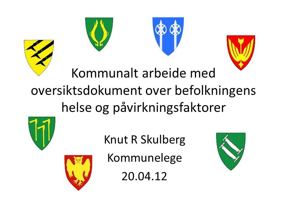 Kommunalt arbeide med oversiktsdokument over befolkningens helse og påvirkningsfaktorer Knut R Skulberg Kommunelege 20.04.12