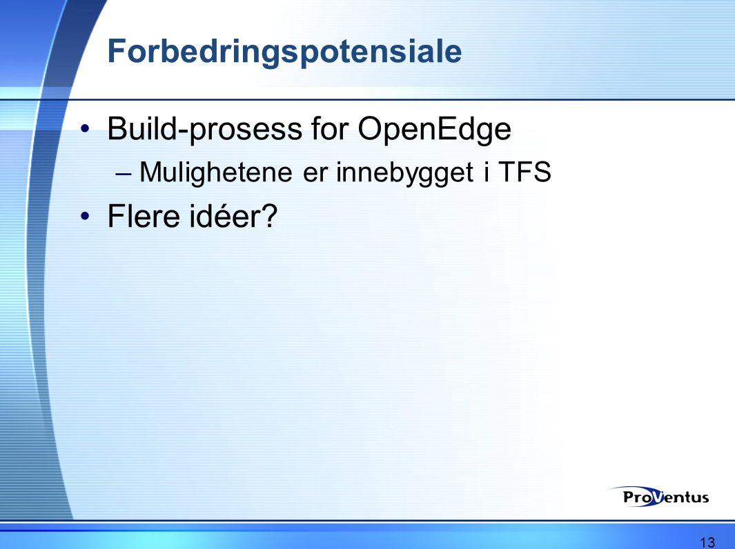Forbedringspotensiale •Build-prosess for OpenEdge –Mulighetene er innebygget i TFS •Flere idéer? 13