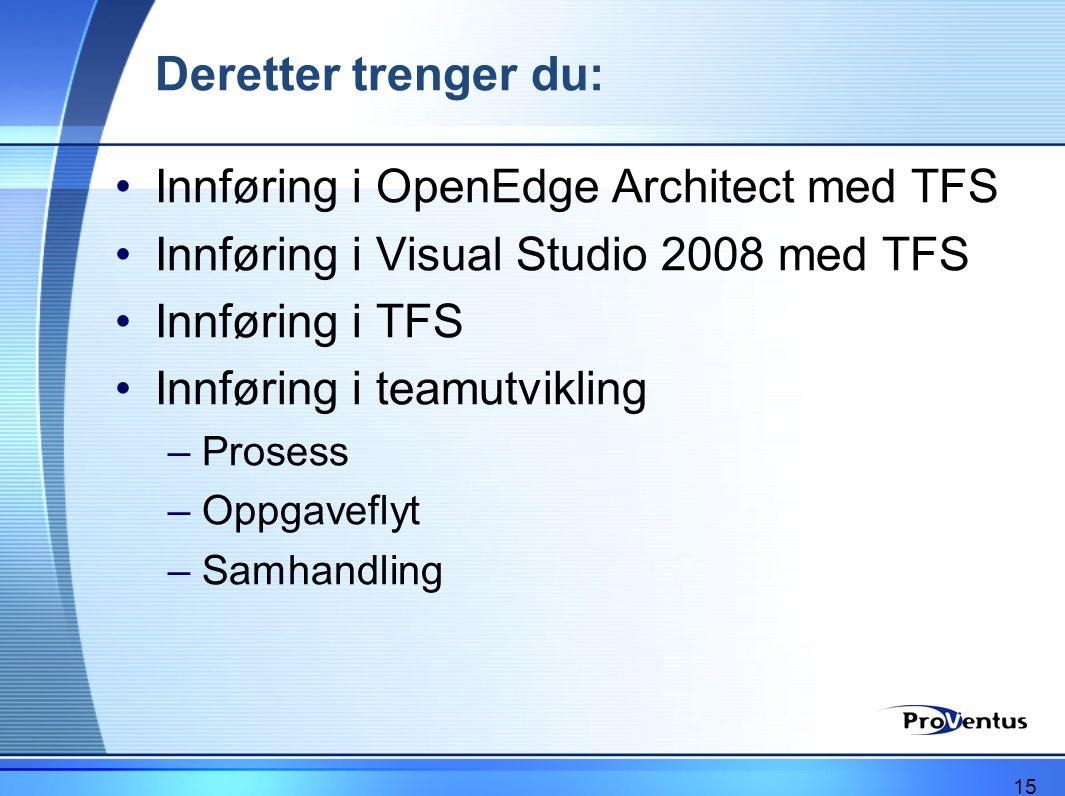 Deretter trenger du: •Innføring i OpenEdge Architect med TFS •Innføring i Visual Studio 2008 med TFS •Innføring i TFS •Innføring i teamutvikling –Pros