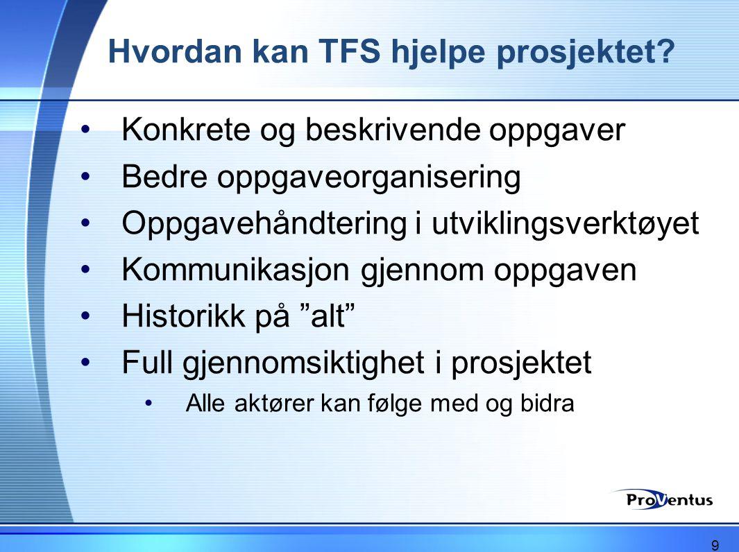 Hvordan kan TFS hjelpe prosjektet? •Konkrete og beskrivende oppgaver •Bedre oppgaveorganisering •Oppgavehåndtering i utviklingsverktøyet •Kommunikasjo