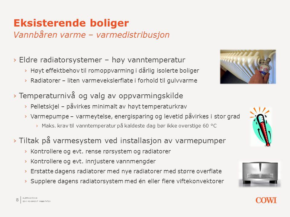 ›Eldre radiatorsystemer – høy vanntemperatur ›Høyt effektbehov til romoppvarming i dårlig isolerte boliger ›Radiatorer – liten varmevekslerflate i for