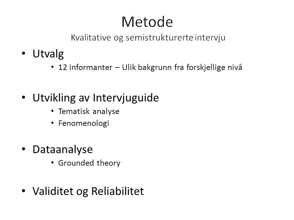 • Utvalg • 12 Informanter – Ulik bakgrunn fra forskjellige nivå • Utvikling av Intervjuguide • Tematisk analyse • Fenomenologi • Dataanalyse • Grounded theory • Validitet og Reliabilitet
