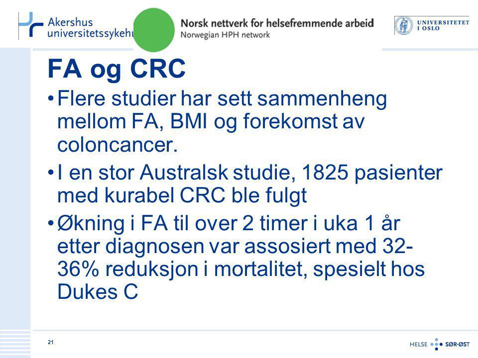 FA og CRC •Flere studier har sett sammenheng mellom FA, BMI og forekomst av coloncancer. •I en stor Australsk studie, 1825 pasienter med kurabel CRC b