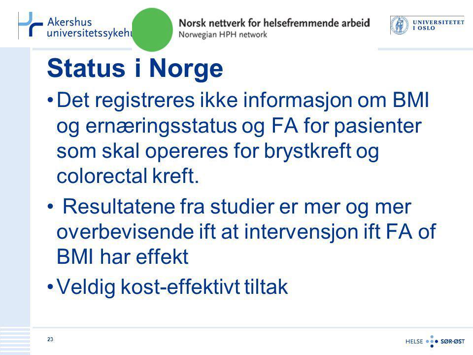Status i Norge •Det registreres ikke informasjon om BMI og ernæringsstatus og FA for pasienter som skal opereres for brystkreft og colorectal kreft. •