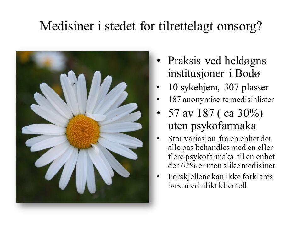 Medisiner i stedet for tilrettelagt omsorg? • Praksis ved heldøgns institusjoner i Bodø • 10 sykehjem, 307 plasser • 187 anonymiserte medisinlister •