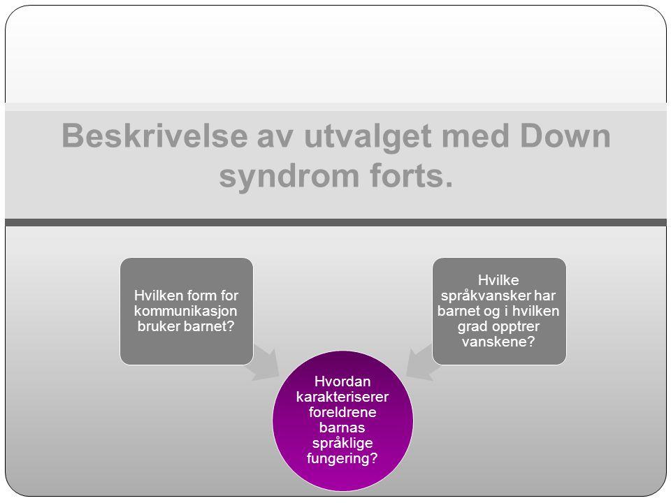 Beskrivelse av utvalget med Down syndrom forts. Hvordan karakteriserer foreldrene barnas språklige fungering? Hvilken form for kommunikasjon bruker ba