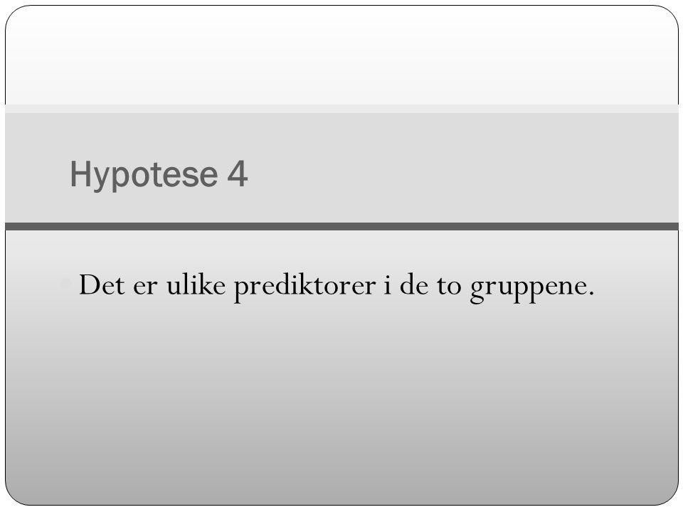 Hypotese 4  Det er ulike prediktorer i de to gruppene.