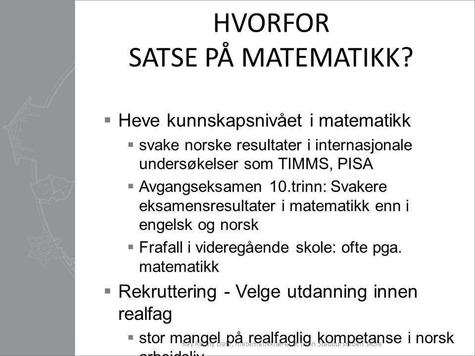 HVORFOR SATSE PÅ MATEMATIKK?  Heve kunnskapsnivået i matematikk  svake norske resultater i internasjonale undersøkelser som TIMMS, PISA  Avgangseks