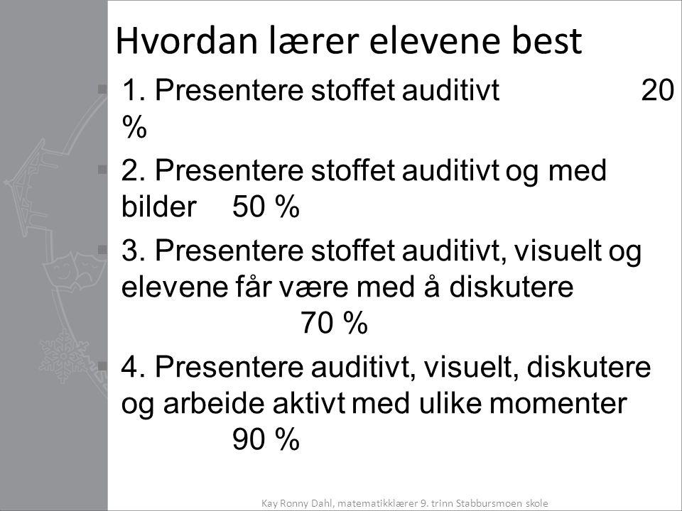 Hvordan lærer elevene best  1. Presentere stoffet auditivt20 %  2. Presentere stoffet auditivt og med bilder50 %  3. Presentere stoffet auditivt, v