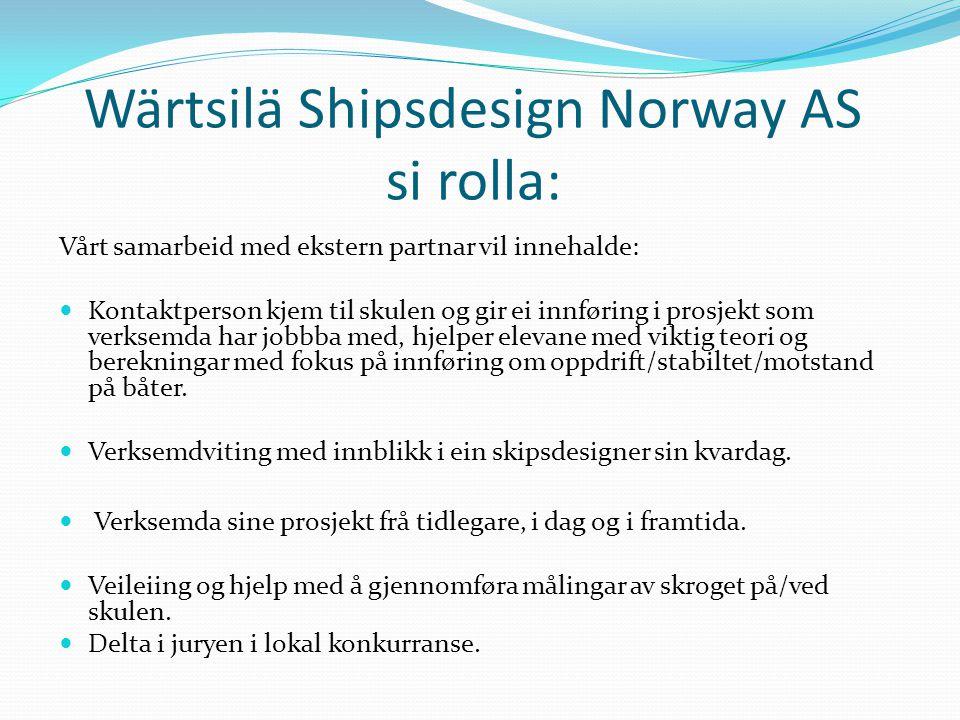 Wärtsilä Shipsdesign Norway AS si rolla: Vårt samarbeid med ekstern partnar vil innehalde:  Kontaktperson kjem til skulen og gir ei innføring i prosj